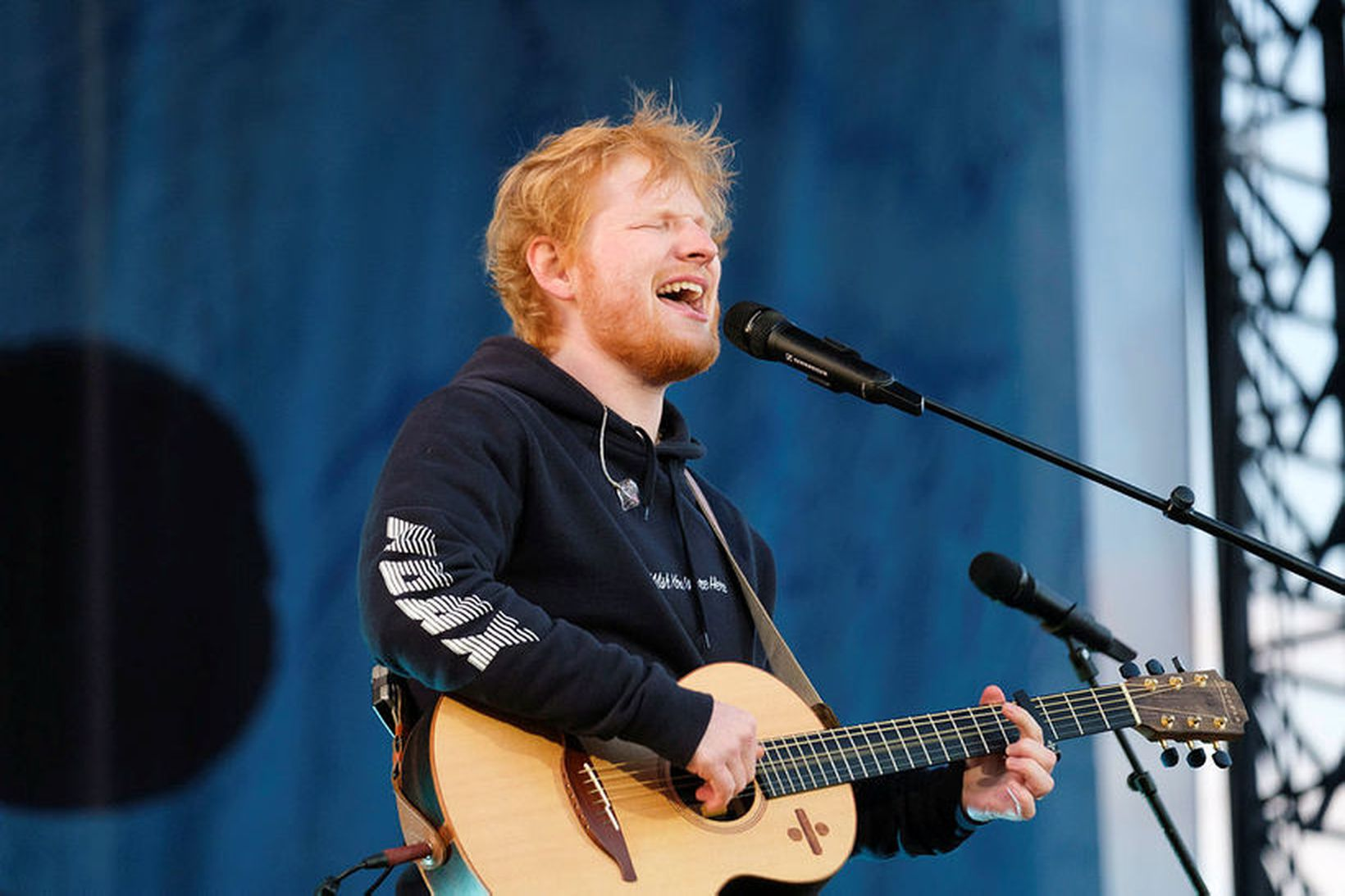 Sheeran virtist allavega skemmta sér.