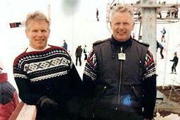 Tvíburabræðurnir Baldvin (t.v.) og Vilhelm Þorsteinssynir í Hlíðarfjalli.