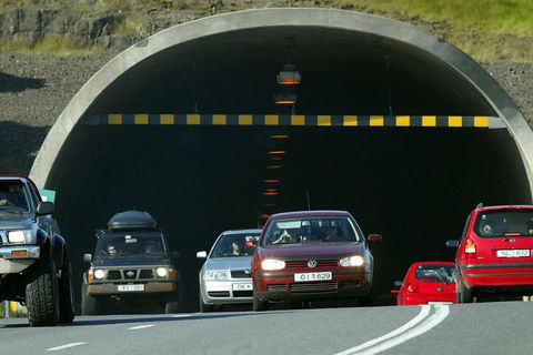 The entrance to Hvalfjarðargöng tunnel.