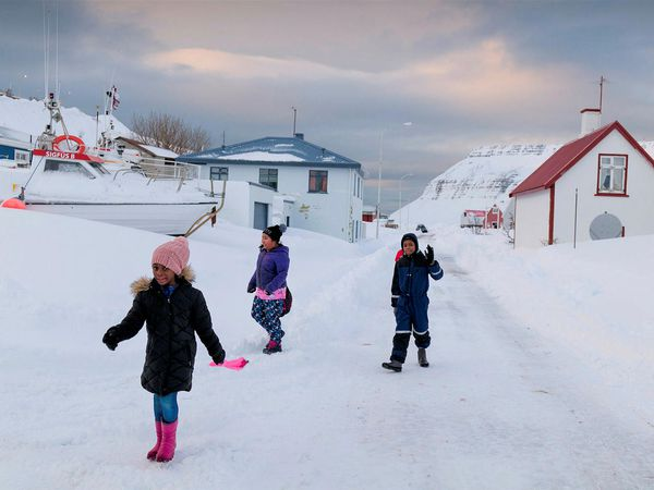 Children at play in Suðureyri yesterday.
