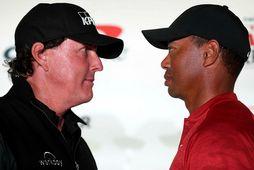 Phil Mickelson og Tiger Woods.