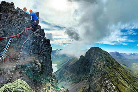Sævar Helgason and Sara Dögg Pétursdóttir, having reached the top of Hraundrangi.