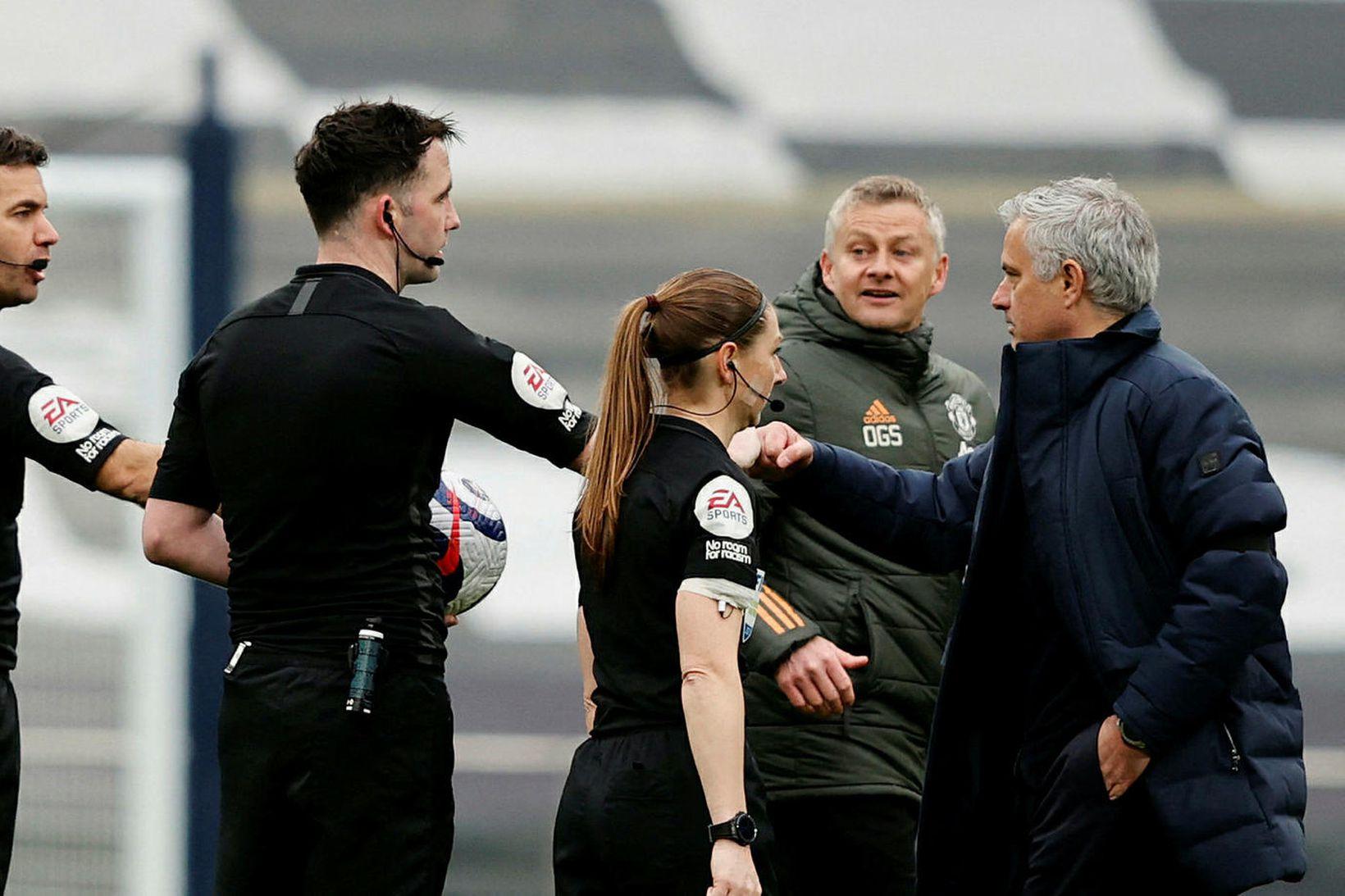 Ole Gunnar Solskjær og José Mourinho rifust eftir leik.