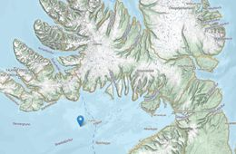 The blue dot shows where the whales were last seen.