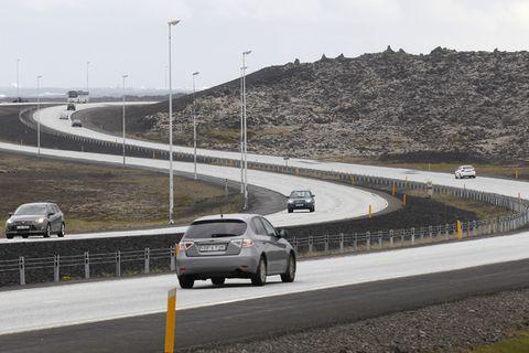 Reykjanesbraut leads from Reykjavik to Keflavik International Airport.