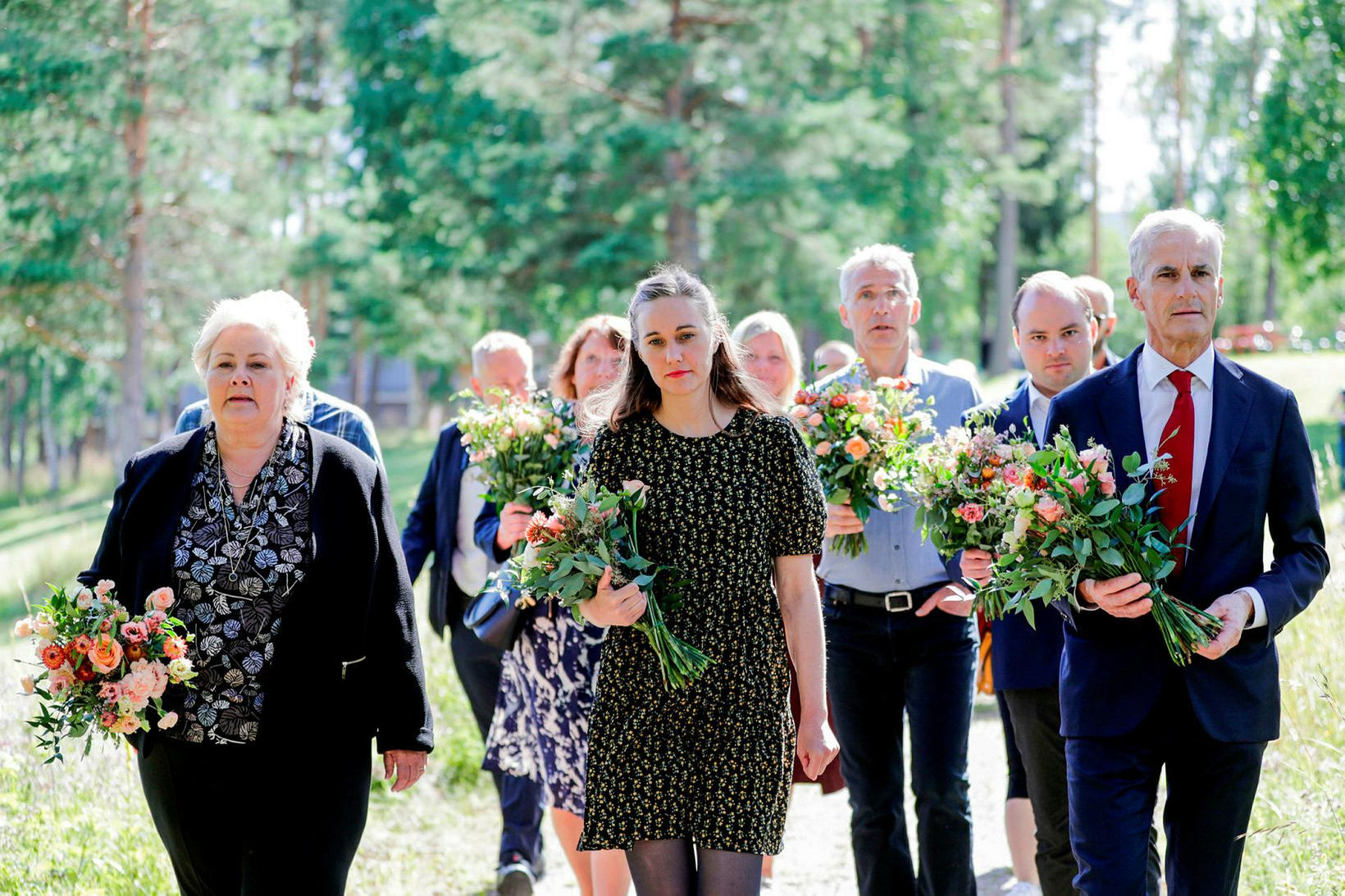 Erna Solberg forsætisráðherra, Ina Rangønes Libak, þáverandi formaður Ungra jafnaðarmanna …