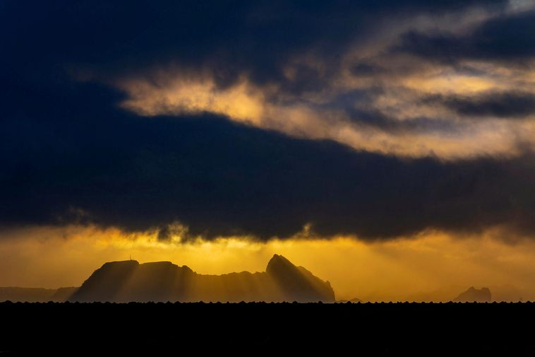 Vestmannaeyjar islands in mystical December light.