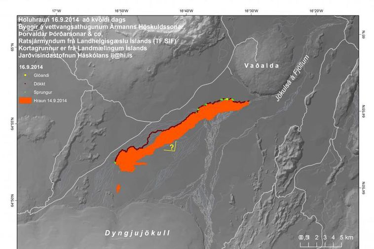 Map showing the spread of the lava in Holuhraun last night.