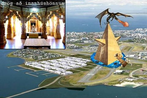Several ideas have been aired about a Zuist temple in Reykjavik, including this golden pyramid in Vatnsmýri.
