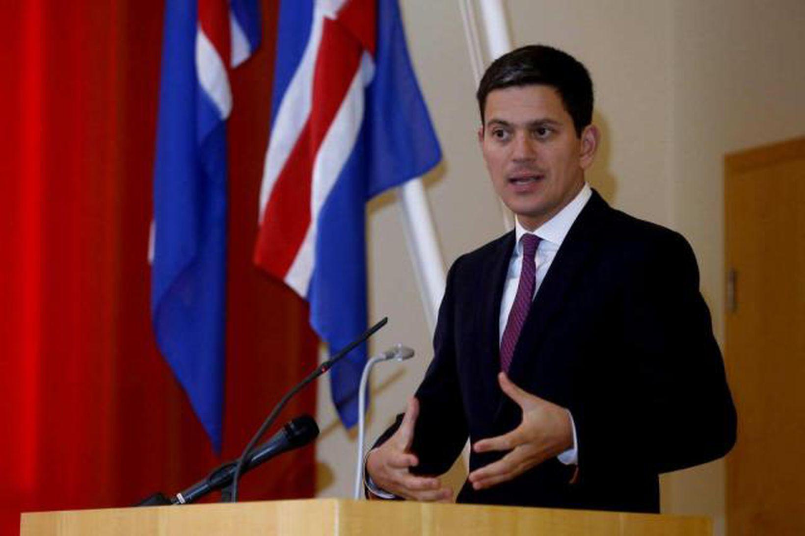 David Miliband, fyrrverandi utanríkis- og umhverfisráðherra Bretlands, á fundinum í …