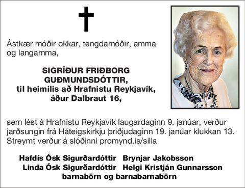 Sigríður Friðborg Guðmundsdóttir,