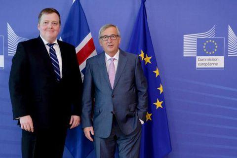 Sigmundur Davíð Gunnlaugsson and Jean-Claude Juncker.