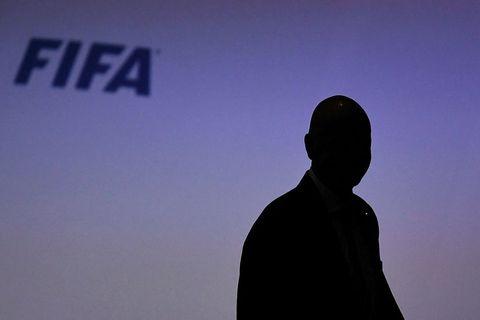Útlinur Gianni Infantino, forseta FIFA, á nýafstöðnu ársþingi sambandsins.