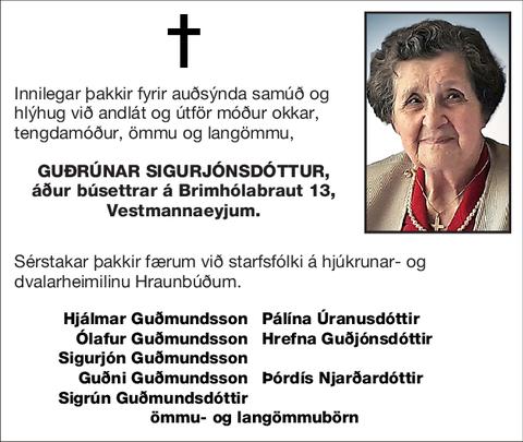 Guðrúnar Sigurjónsdóttur,