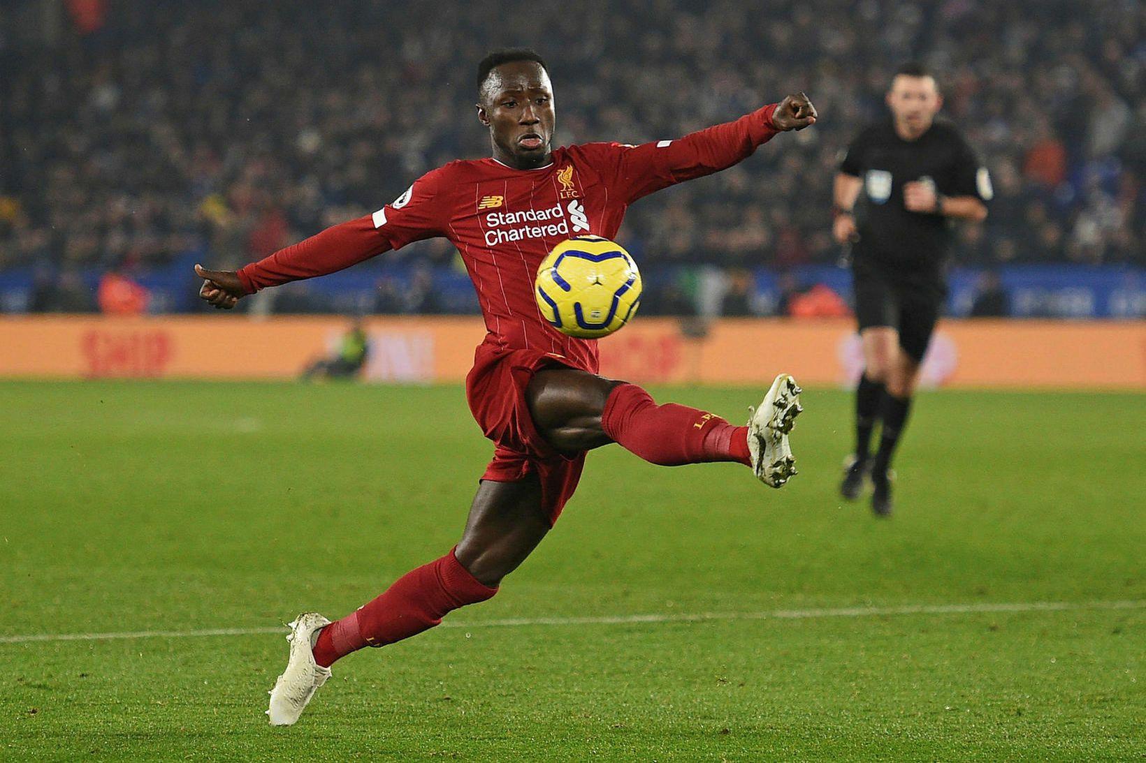 Naby Keita í leik með Liverpool.