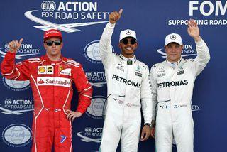 Fyrstu þrír í tímatökunni í Baku (f.v.), Kimi Räikkönen, Lewis Hamillton og Valtteri Bottas.