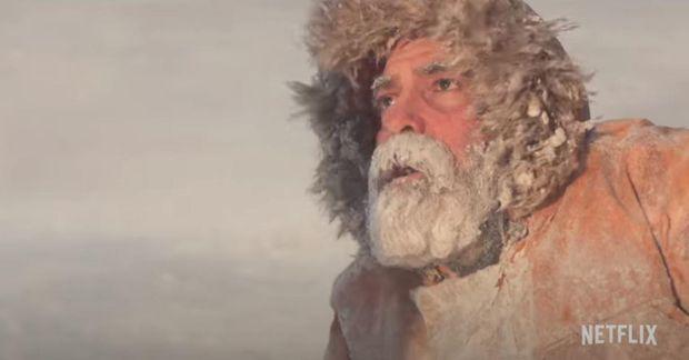 Hér má sjá George Clooney í myndinni The Midnight Sky á Íslandi.