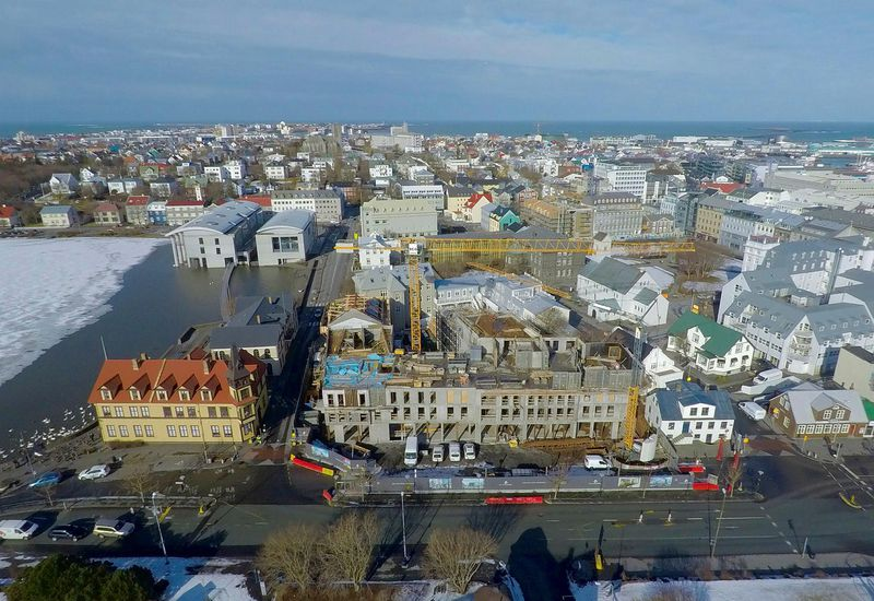 The new hotel in downtown Reykjavík. The Pond is on the left.