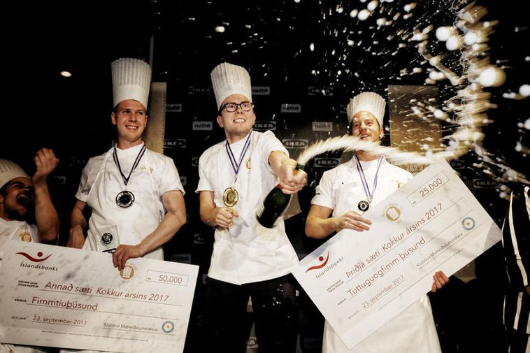 Hafsteinn Ólafsson, centre, is Iceland's chef of the year.