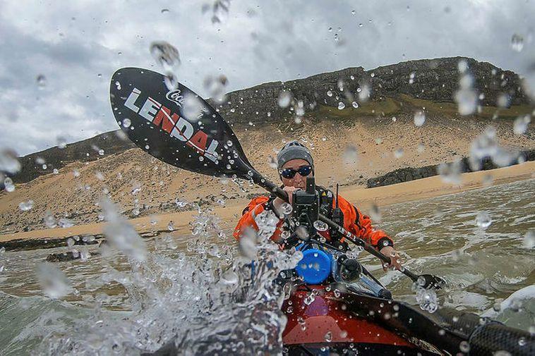 Veiga Grétarsdóttir, paddling from Hænuvík to Látravík in the West Fjords.