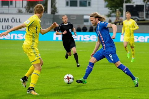 The Icelandic team heating up today at Laugardalsvöllur stadium.