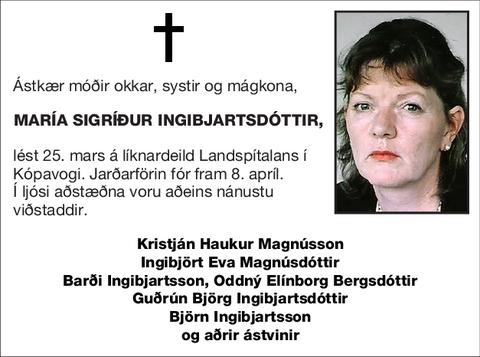 María Sigríður Ingibjartsdóttir,