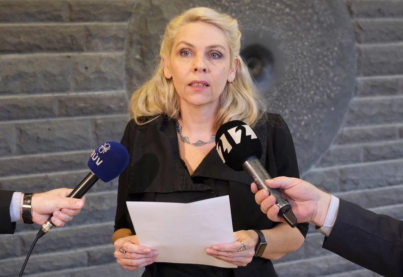 Birgitta Jónsdóttir reads the statement of the Pirate Party.