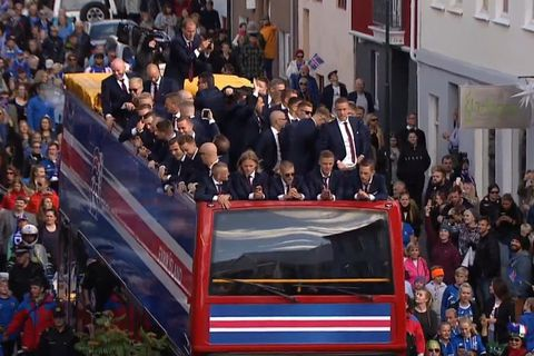 The Icelandic nation is about to burst with pride. Here you can see the national football team arriving in downtown Reykjavik.