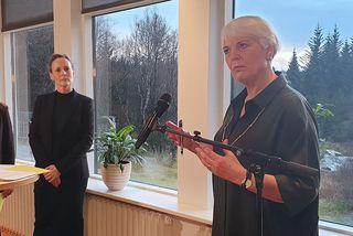 Helga Jónsdóttir á blaðamannafundinum í dag.