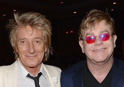 Rod Stewart og Elton John þegar allt lék í lyndi.