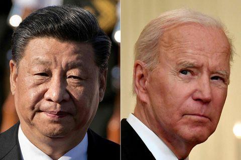 Xi Jinping og Biden á samsettri mynd.