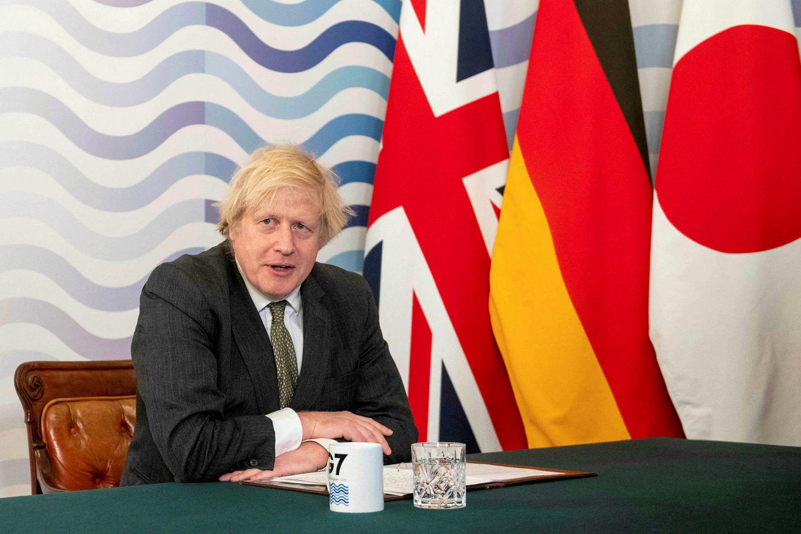 Boris Johnson, forsætisráðherra Bretlands, á rafrænum fundi G7-ríkjanna um helgina.
