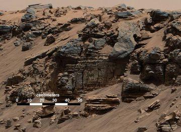 Setlög sem Curiosity myndaði á Mars 7. ágúst 2014.