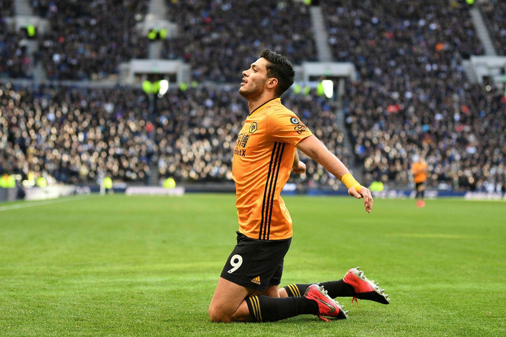 Raul Jiménez fagnar marki fyrir Wolves í vetur.