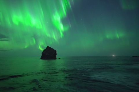 The Northern Lights were captured in Reykjanes using a drone.