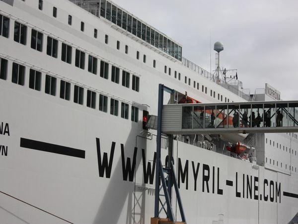 Health care workers, waiting to board Norræna last week.