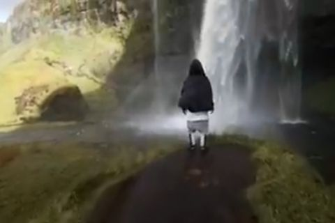 Justin Bieber at Seljalandsfoss waterfall in South Iceland.