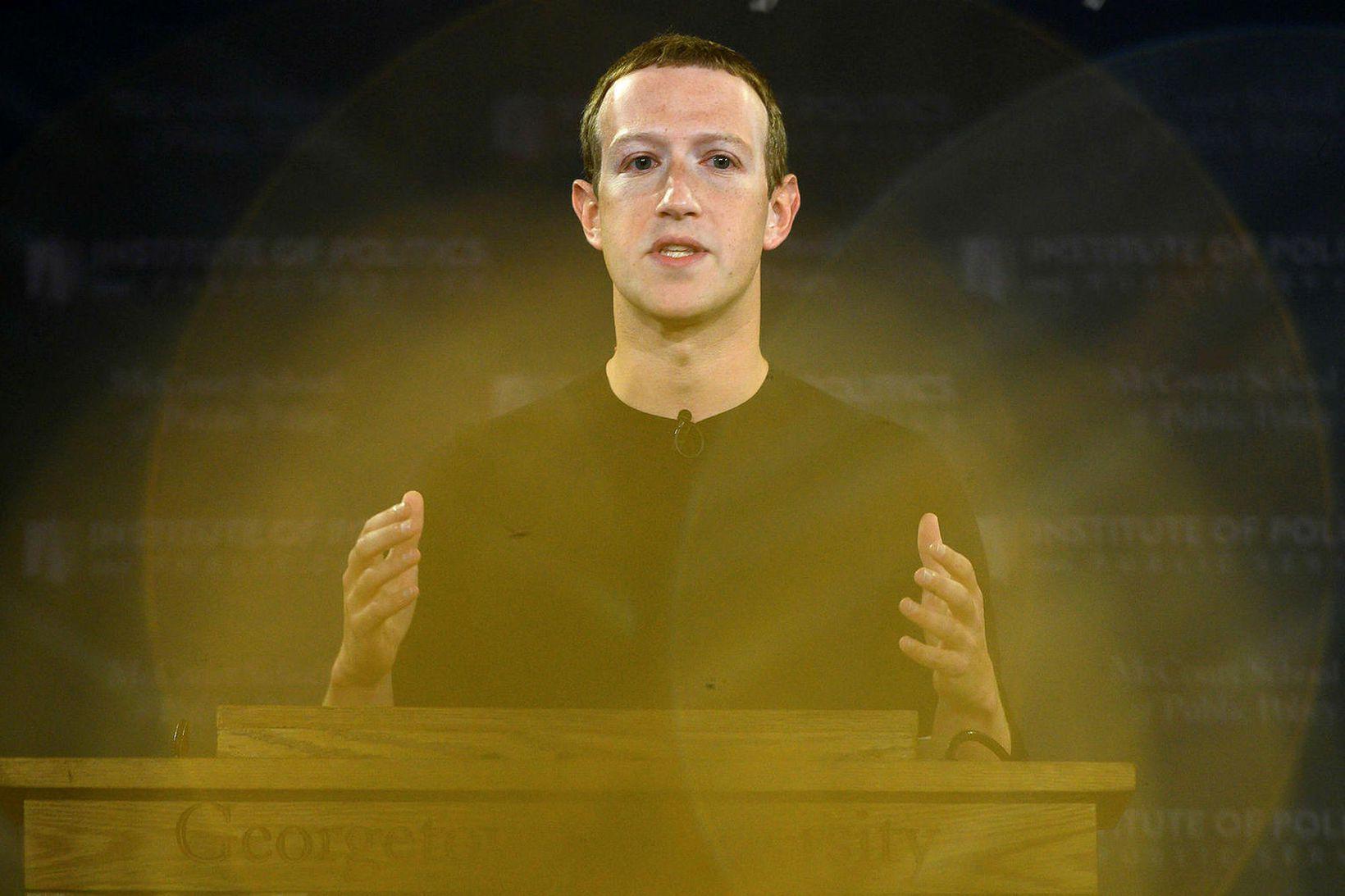 Mark Zuckerberg flytur fyrirlestur í háskóla árið 2019.