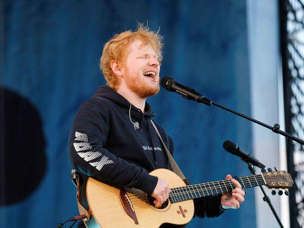 Ed Sheeran at Laugardalsvöllur arena Saturday night.