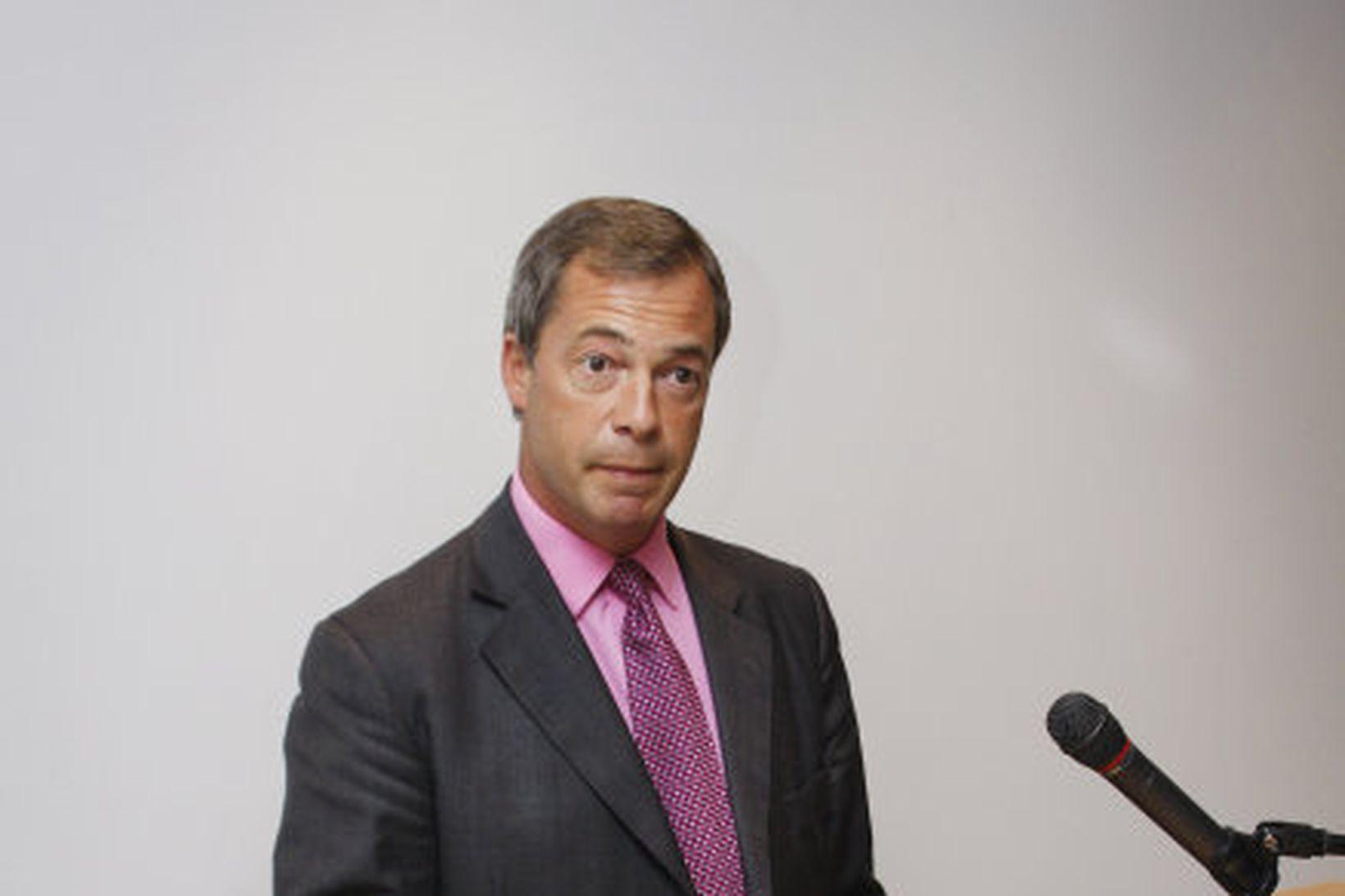 Nigel Farage, leiðtogi Breska sjálfstæðisflokksins, heimsótti Ísland í ágúst 2008 …