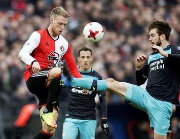 Frá viðureign Feyenoord og PSV í gær.