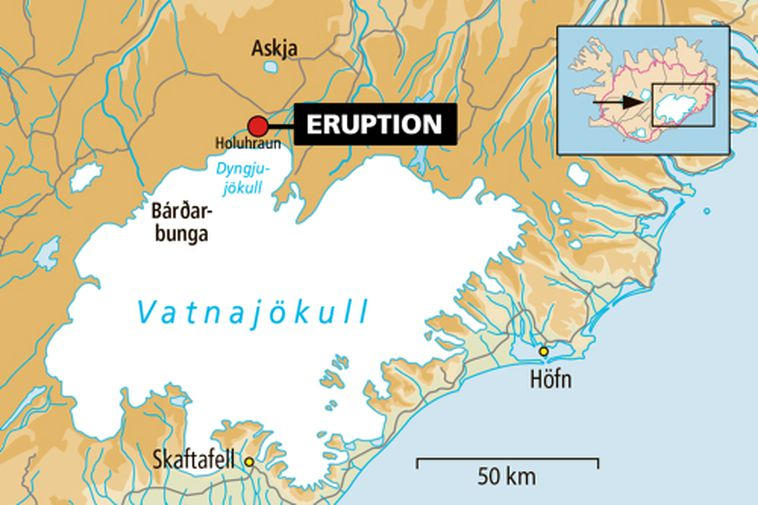 A fissure eruption started at Holuhraun lava North of Dyngjujökull glacier in Vatnajökull glacier on …