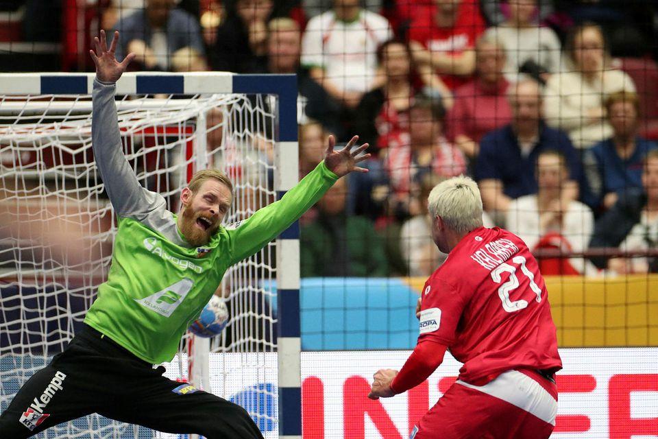 Björgvin Páll Gústavsson í miklum ham.