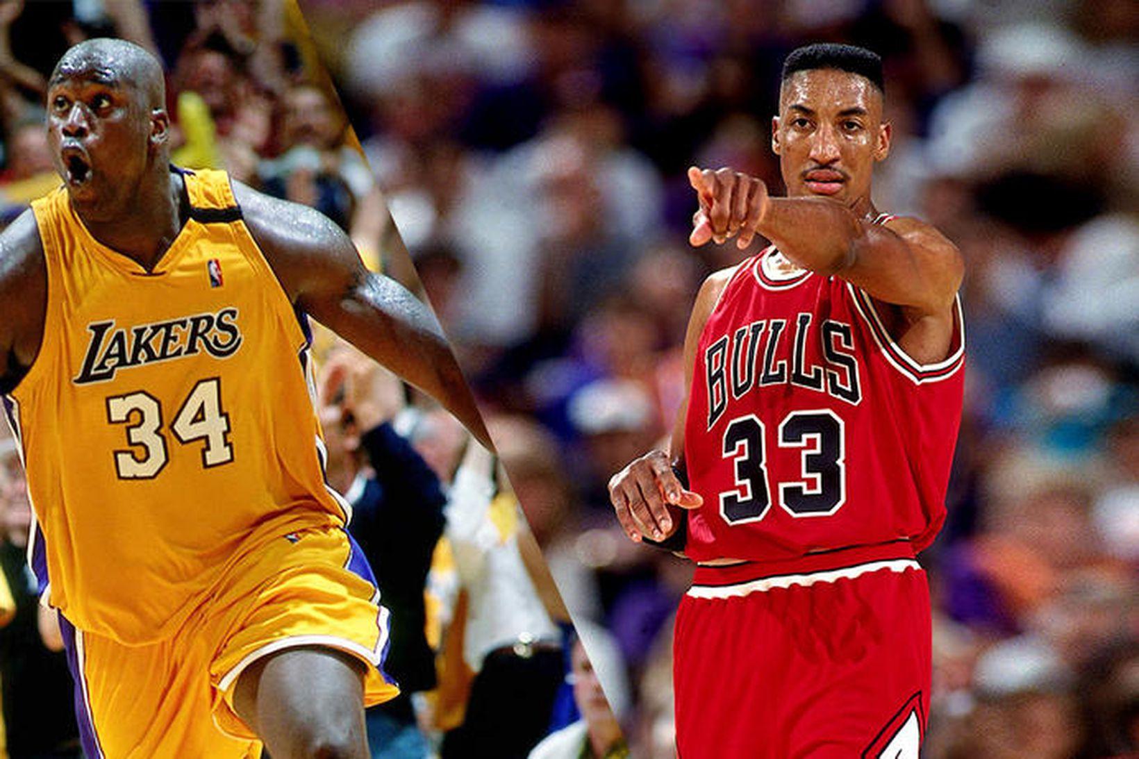 Scottie Pippen, til hægri, ásamt Shaquille O'Neal hjá Lakers.