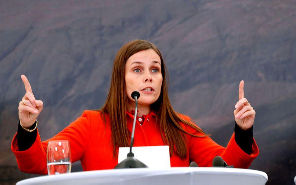 Katrín Jakobsdóttir forsætisráðherra í Viðey á fundi með Merkel og ...