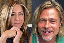 Jennifer Aniston og Brad Pitt í auglýsingunni fyrir samlesturinn.
