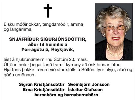 Snjáfríður Sigurjónsdóttir,