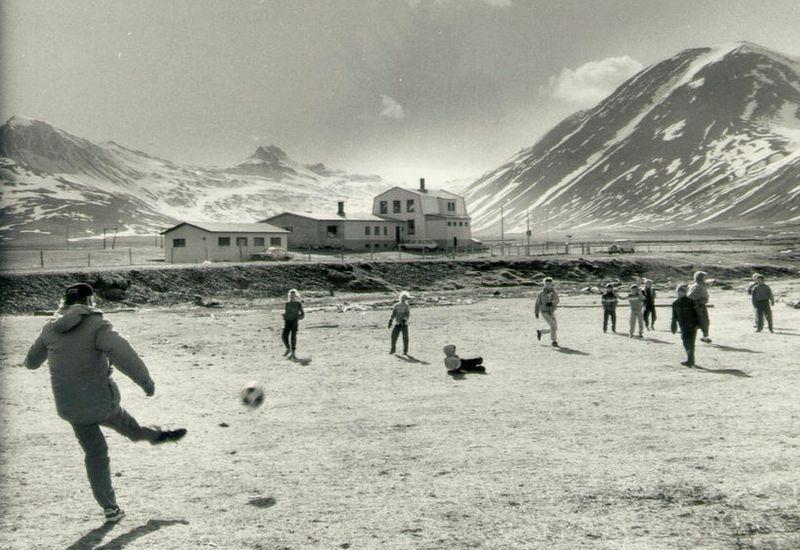 Students at Finnbogastaðaskóli school at play, years ago.