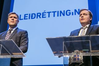 Bjarni Benediktsson og Sigmundur Davíð Gunnlaugsson árið 2014 er þeir kynntu leiðréttinguna.