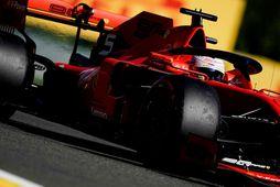 Vettel á æfingunni í Spa-Francorchamps.